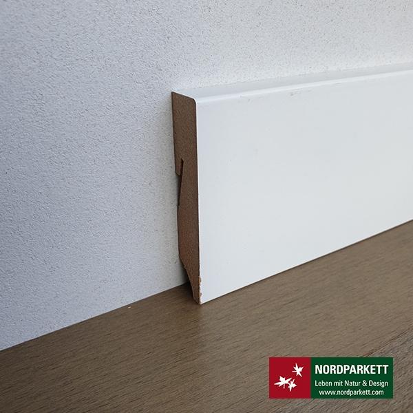 Sockelleiste 16 x 80 mm weiß lackiert