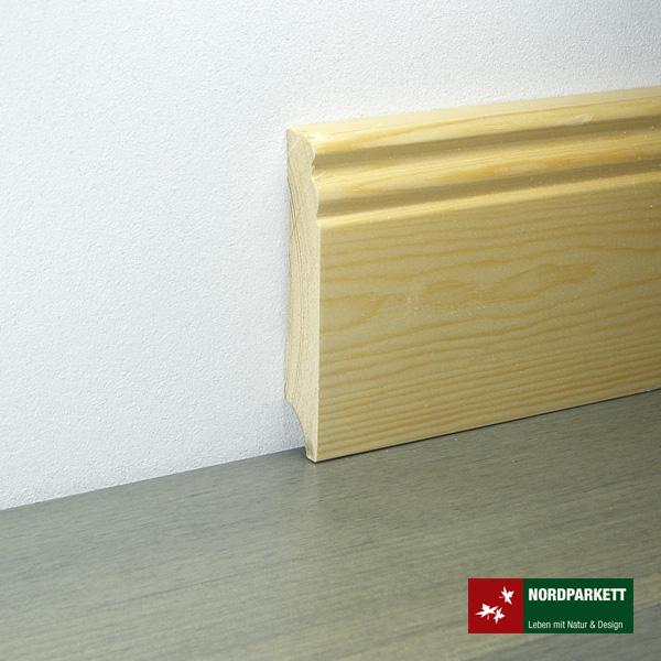 Sockelleiste 18 x 96 mm Kiefer roh Hamburger Profil
