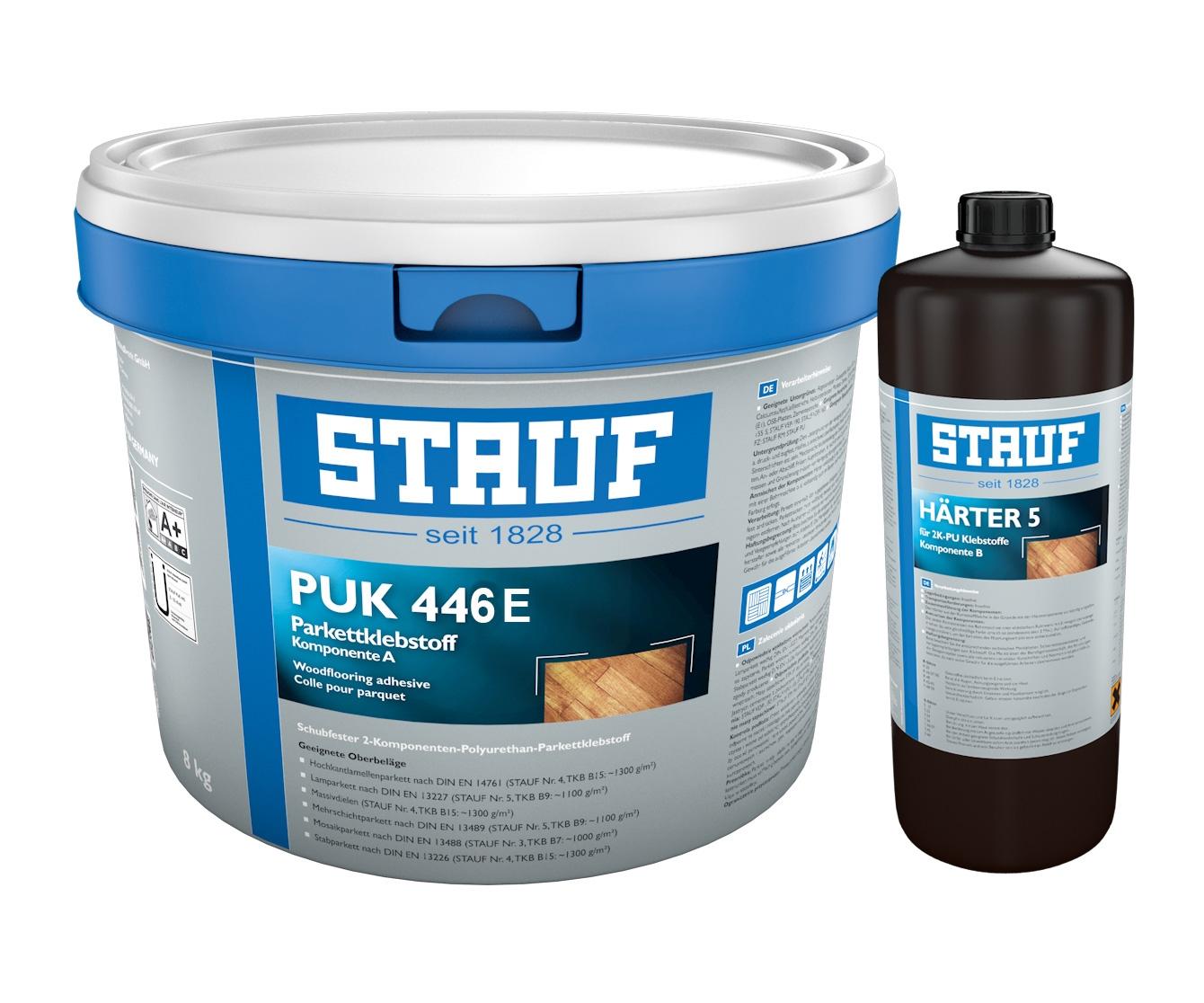 Stauf PUK-446 E 2K- dunkel eingefärbter PU-Parkettklebstoff 8,9 Kg (Nachfolger vom PUK- 445-E)