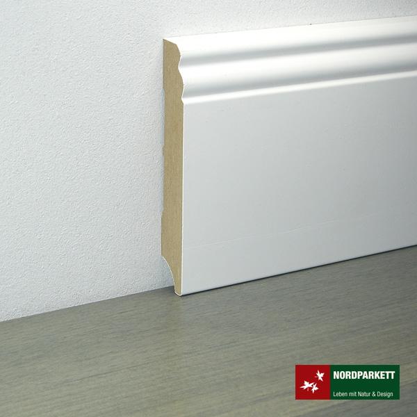Sockelleiste 18 x 145 mm Hamburger Profil MDF, weiß lackiert
