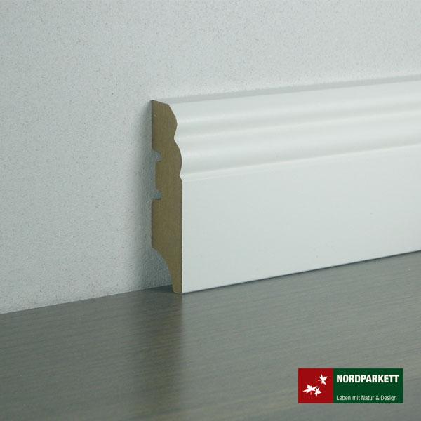 Sockelleiste 18 x 80 mm Hamburger Profil MDF, weiß lackiert